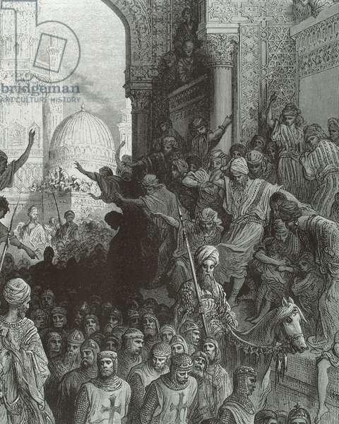 Crusaders taken prisoners by the arabs (engraving