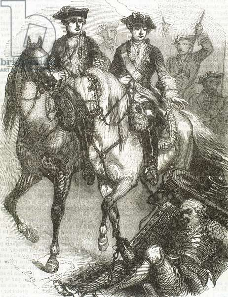 Louis XV, King of France and his son Louis, Dauphin of France present at the Battle of Fontenoy, 11 May 1745 (engraving)