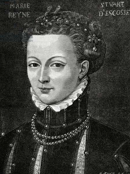 MaryQueen of Scots (1542-1587). Queen of Scotland and Queen consort of France. Engraving, 1885.