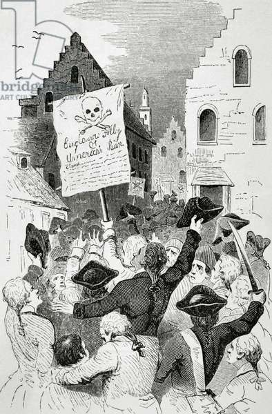 United States. New York. Protests by the Stamp Act 1765 (engraving)