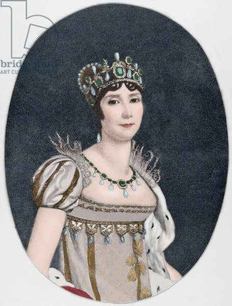 Josephine de Beauharnais (1763-1814). Engraving. Colored.