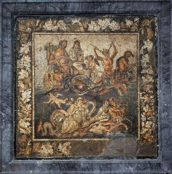 Roman mosaic, Neptune and Amphitrite in a chariot, House of Granduca di Toscana, Pompeii
