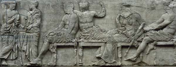 Parthenon frieze, East side, 447-432 BC Classical era, Central section, Zeus and Hera seated,