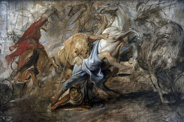 Oil sketch for the lion hunt, 1621-1622, by Rubens (1577-1640).