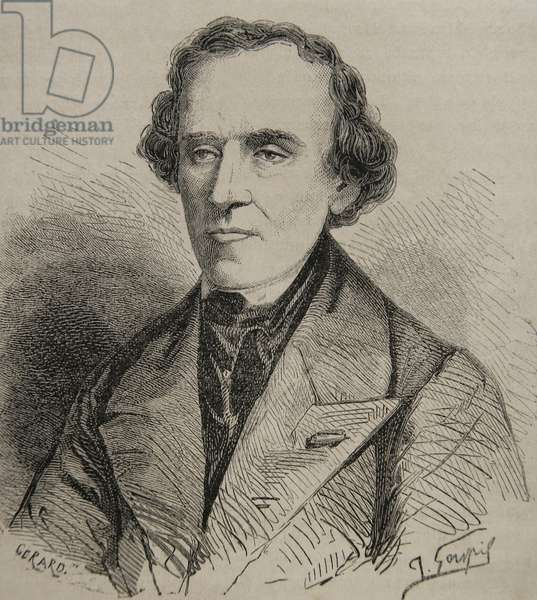 Portrait of Giacomo Meyerbeer (1791-1864): German opera composer. Portrait (engraving)