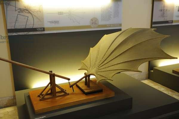 Beating wing. Study by Leonardo da Vinci. Model by Mario Alberto and Vittorio Somenzi, 1952. Manuscript B, sheet 88 v. 1483-86.