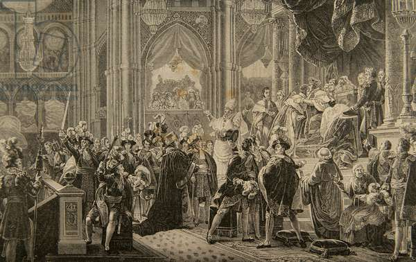 Consecration of king Charles X of France (1757-1826) in the Cathedral of Reims. May 29, 1825. Engraving.