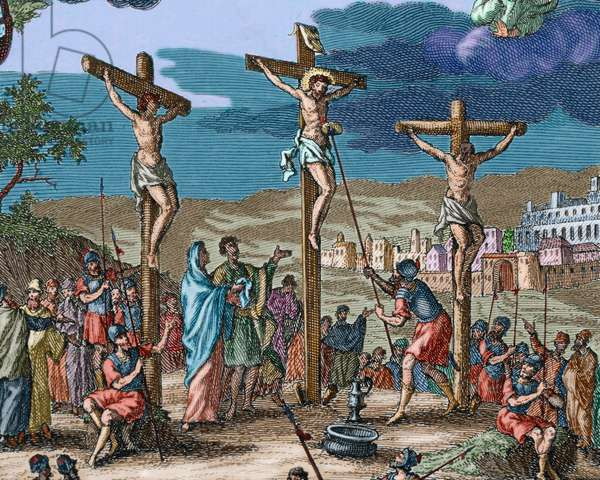 Crucifixion of Christ (colour engraving)