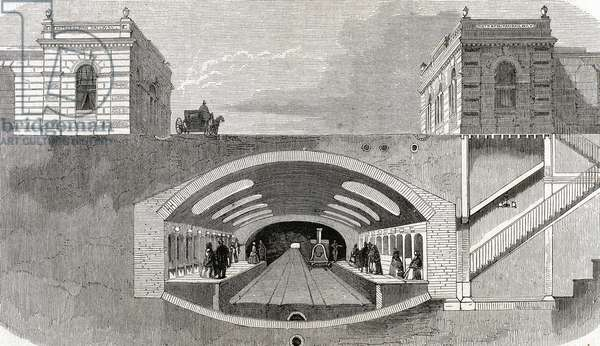 Section of a London Underground station. England. Engraving from 'L'Univers Illustr_.' Late nineteenth century.