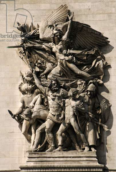 France. Paris. Triumphal Arch. Depart of 1792. La Marseillaise personified on the Arc de Triomphe. by Francois Rude.