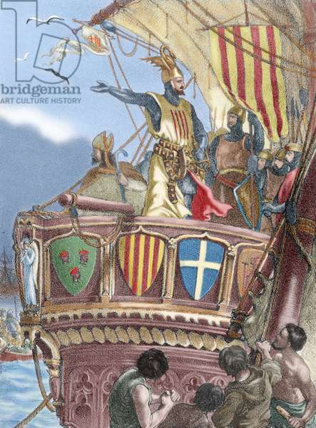 James I The Conqueror (1208-1276). Count of Barcelona and King of Aragon (1213-1276), Valencia (1239-1276) and Majorca (1229-1276). Expedition to Majorca. Nineteenth century colored engraving.