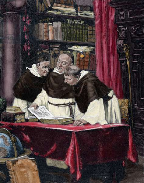 Monks reading a copy of the Gutenberg Bible