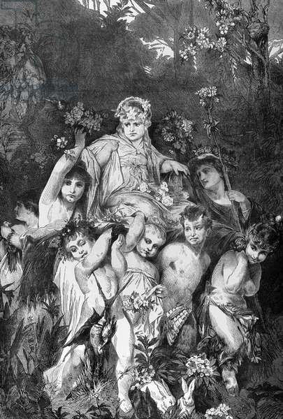 Group of cupids. Engraving by Knesing. Reproduces a painting by Hans Makart (1840-1884).