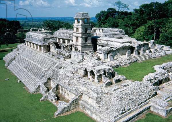 Palenque Archeological site. Palace. Mexico.