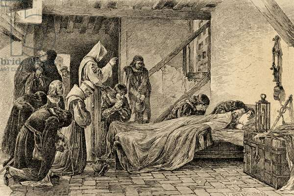 Death of Christopher Columbus (1451-1506). Engraving.