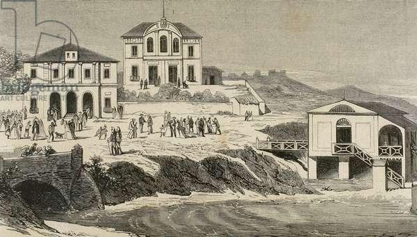 Santander, Royal Residence of El Sardinero, Cantabria, Spain (engraving)
