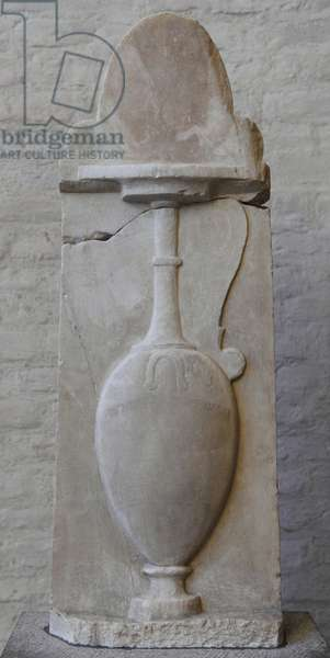 Greek art. Grave relief of Paramythion with a vase for wedding and burial. About 370 BC.