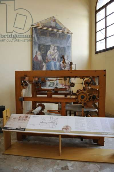 Study of Leonardo da Vinci. Mechanical loom. 15th century.