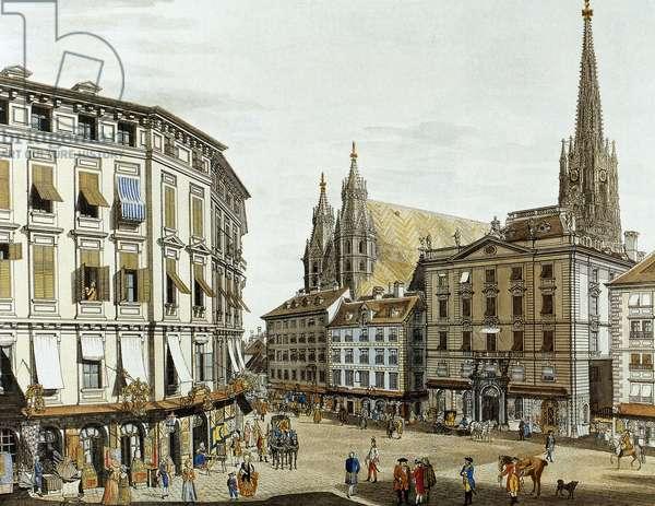 Austria. Vienna. Stock Am Eisen square next to St. Stephen cathedral (1779) (colour engraving)