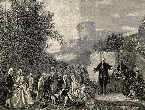 Carlo Goldoni (1707-1793)Italian playwrightreciting. Engraving.