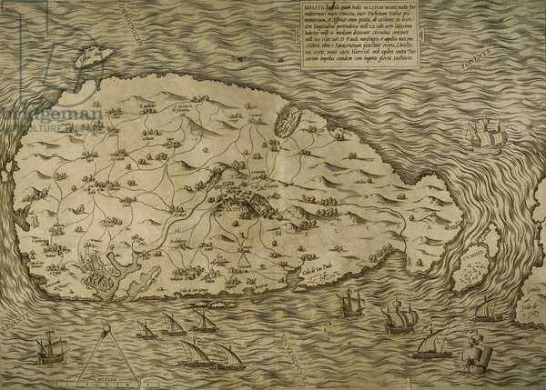 Map of Malta, Island, Mediterranean Sea, Italian engraving, 16th century