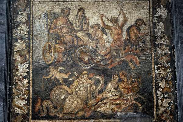 Roman mosaic, Neptune and Amphitrite in a chariot, House of Granduca di Toscana, Pompeii