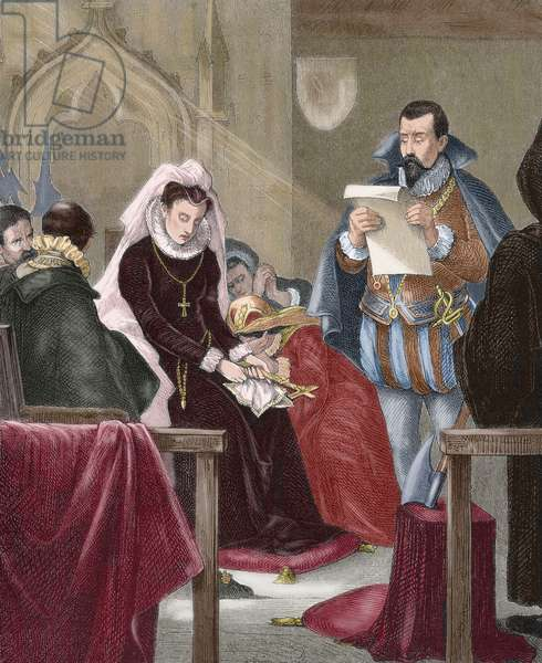 Mary, Queen of Scots (1542-1587)., on the scaffold, 1885 (colour engraving)