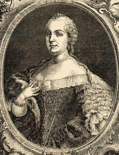 Queen Maria Theresa of Austria (1717-1780). Engraving1882.