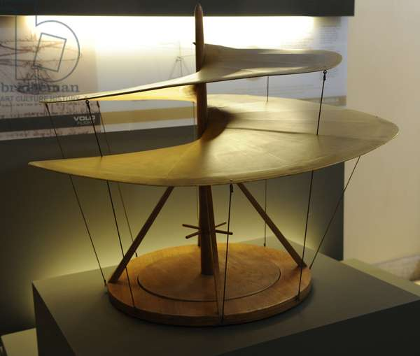 Study the air screw by Leonardo da Vinci. Manuscript B, sheet, 83 V, 1483-1486.