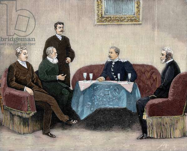 William II sets out his ideas on the labour question at the palace of Prince Bismarck, Berlin, 1890 (engraving) (later colouration)