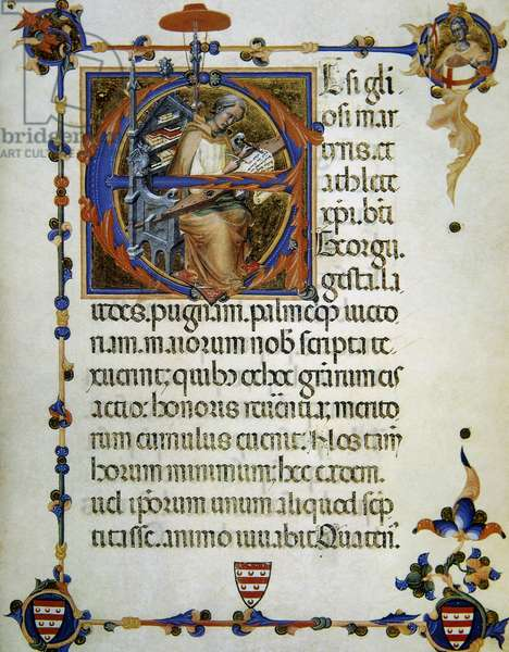 Legend and craft of Saint George, Represented as medieval copyist, 14th century,