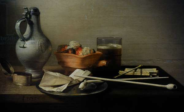 Still Life With Clay Pipes, 1636, by Pieter Claesz. (1597-1660).