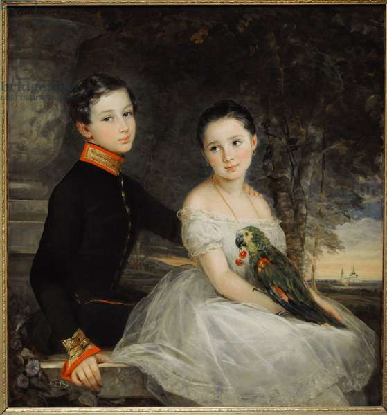 Children with a parrot, 1850