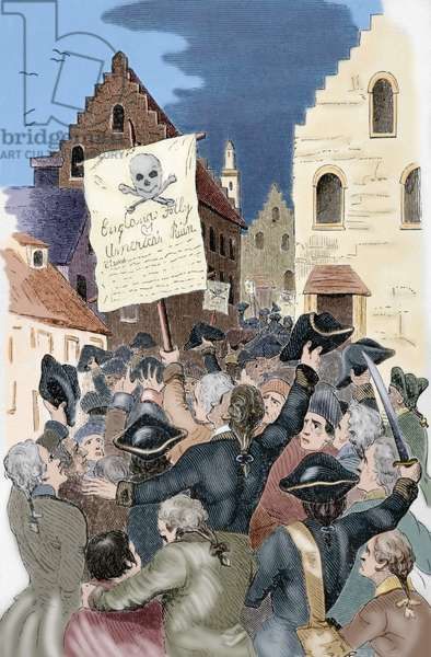 United States. New York. 18th century. Protests by the Stamp Act 1765 ordered by the Parliament of Great Britain that imposed a direct tax on the thirteen colonies of British America. Engraving. The American Revolution. Colored.