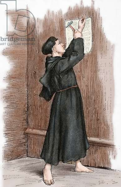 Martin Luther (1483-1546) hanging his 95 theses in Wittenberg, 1517. Engraving. coloured.
