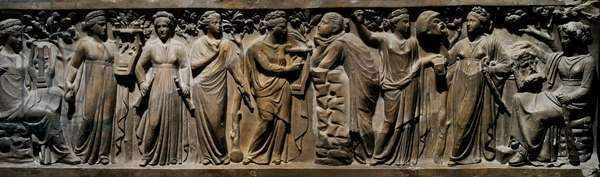 Relief of a roman sarcophagus depicting The NIne Muses. Middle 2nd century AD (marble)