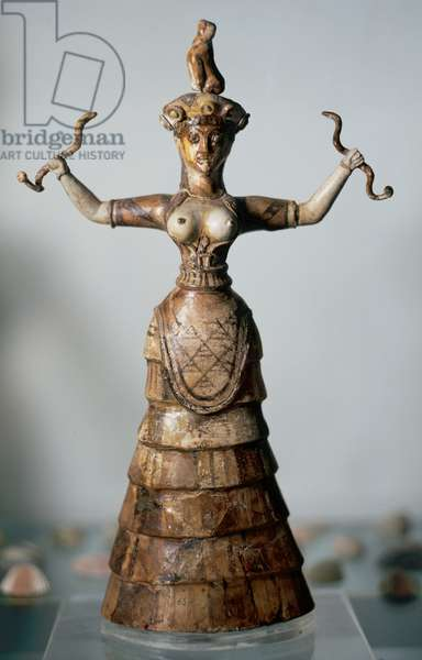 Minoan Art. Crete. The younger snake goddess, from the palace of Knossos. C. 1600 BC (sculpture)