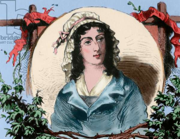 Charlotte Corday (1768-1793). French aristocrat and figure of the French Revolution. Portrait. Engraving. coloured.