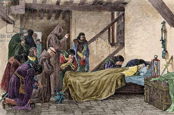 Death of Christopher Columbus (1451-1506). Colored engraving.