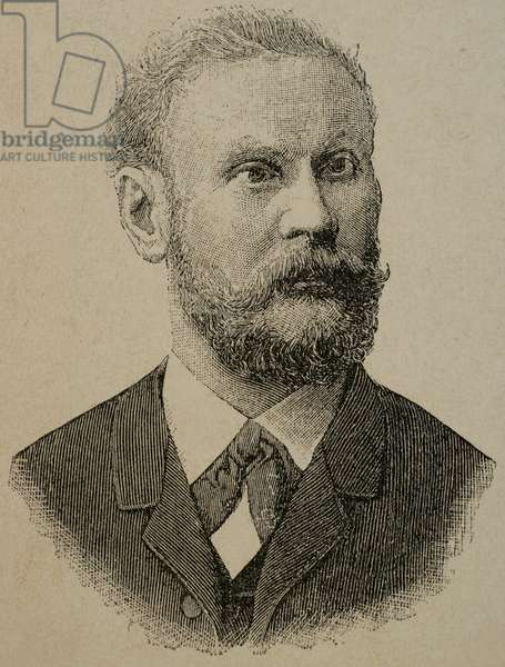 Otto Lilienthal (1848-1896). German pioneer of aviation. Engraving,1890.