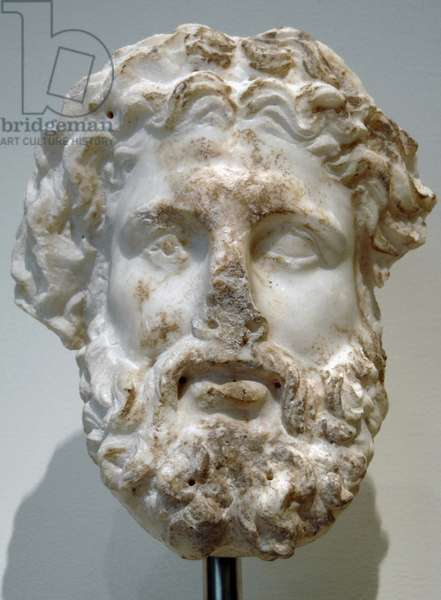 Greek Art. Hellenistic. Marble head of a god, probably Zeus. Metropolitan Museum of Art. New York. United States.