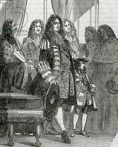 Philippe II of Orleans as a Regent with Louis XV in the Parliament (engraving)