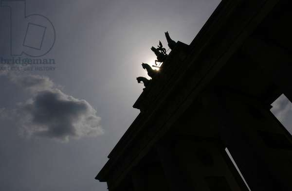 Quadriga by Johann Gottfried Schadow (1764-1850). Backlight. Brandenburg Gate. Berlin.
