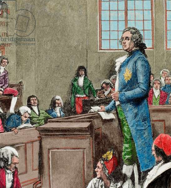 French Revolution (1789-1799). Judgment of Louis XVI (coloured engraving)