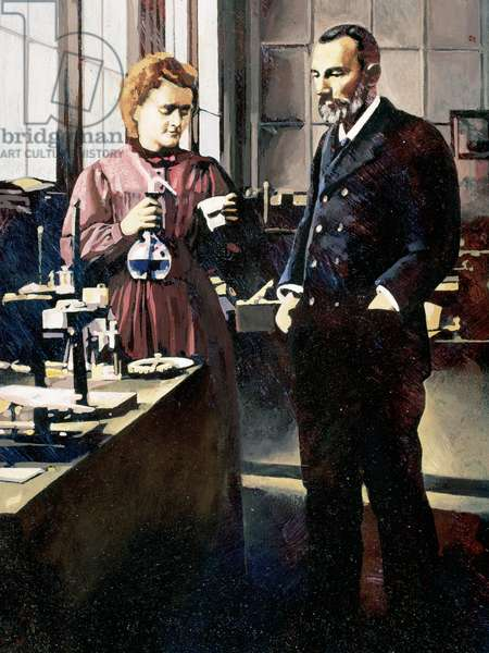 Pierre Curie (1859-1906) and Marie Curie (1867-1934). French physicists.