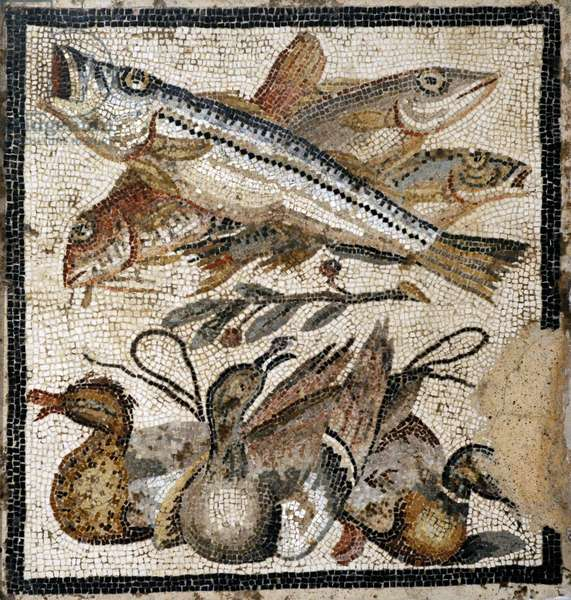 Roman mosaic, Fish and ducks, From Pompeii, 1st century BC, Italy