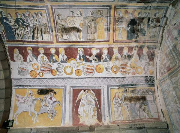 Apse frescoes depicting scenes from the Passion of Christ and the life of Saint Olalla, including the Last Supper, Church of Saint Eulalia, La Loma, Spain (photo)