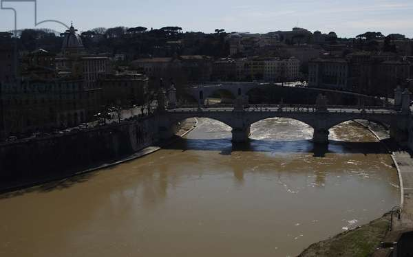 Italy. Rome. Tiber river from Castel Sant'Angelo.