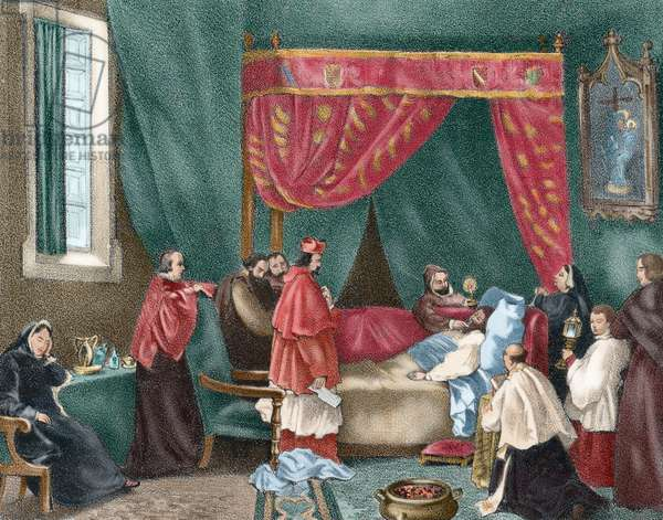 Death of John of Austria (1547-1578) by tiphus (colour engraving)