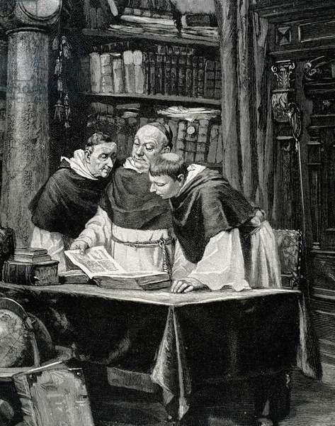 Monks reading a copy of the Gutenberg Bible.